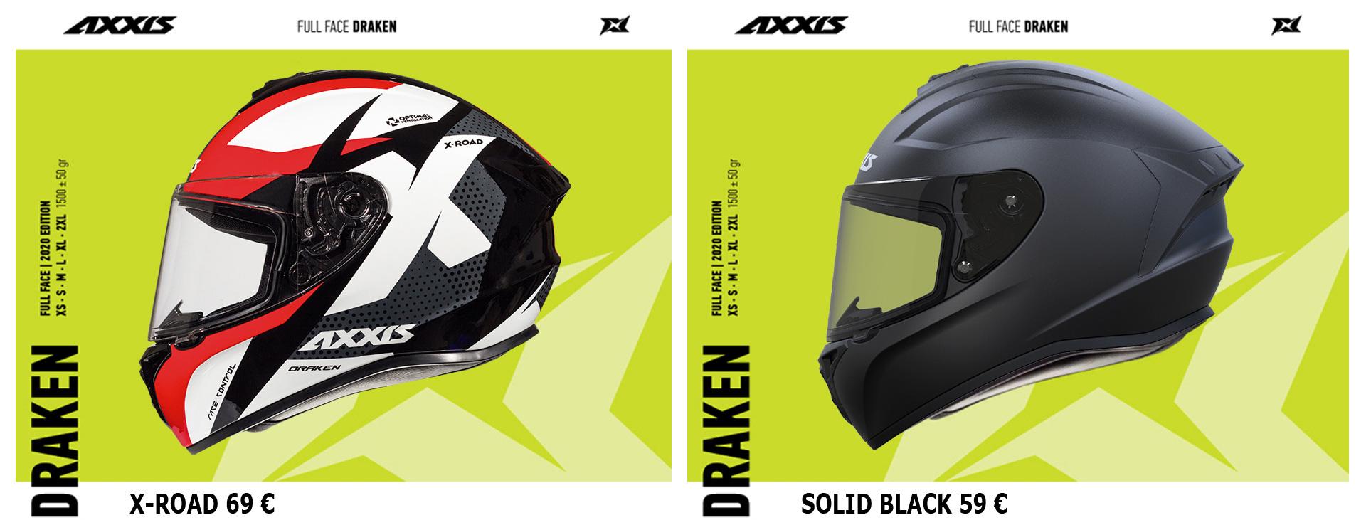 AXXIS HELMETS DRAKEN X-ROAD & SOLID BLACK